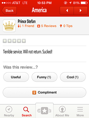 America Yelp Review