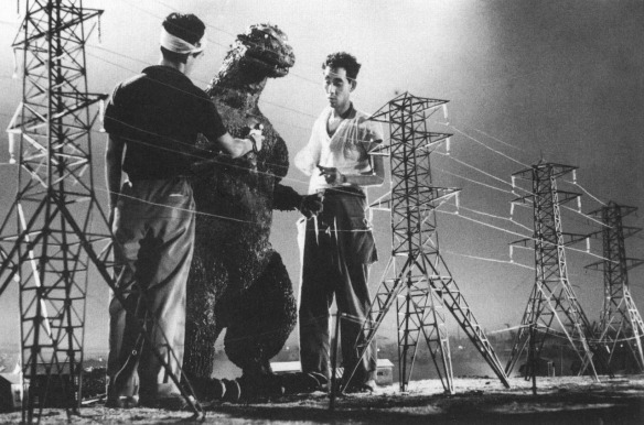 37.-Preparing-models-and-set-to-film-the-first-Godzilla-movie-1954-on-the-sets-of-Godzilla