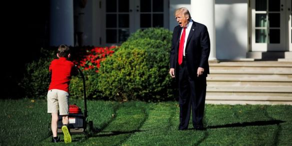Trump yelling at lawn mowing kid