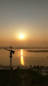 View_of_sunrise_in_the_economic_and_technical_development_zone_of_Dongkou_County